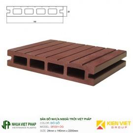 Sàn gỗ nhựa ngoài trời Việt Pháp SGR01-DG 4 lỗ | 24x140mm