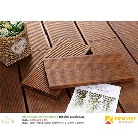 Sàn tre ngoài trời Lavie Bamboo mặt rãnh mau màu sáng LBDG121-18T