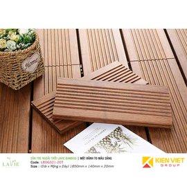 Sàn tre ngoài trời Lavie Bamboo mặt rãnh to màu sáng LBDG321-20T