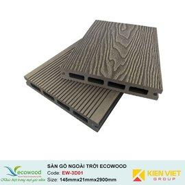 Sàn gỗ ngoài trời 3D rỗng EcoWood EW-3D01 | 145x21mm